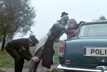 Sir Lancelot is arrested by modern-day police officers in Monty Python and the Holy Grail.