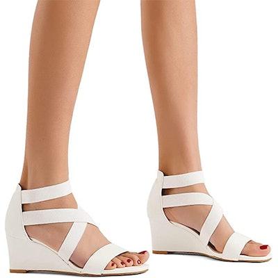 DREAM PAIRS Elastic Ankle Strap Wedge Sandals