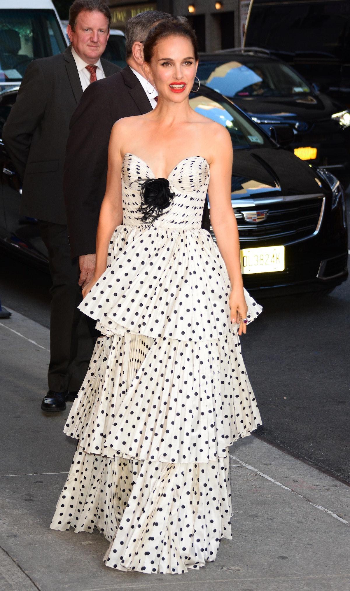 Natalie Portman in polka dots.