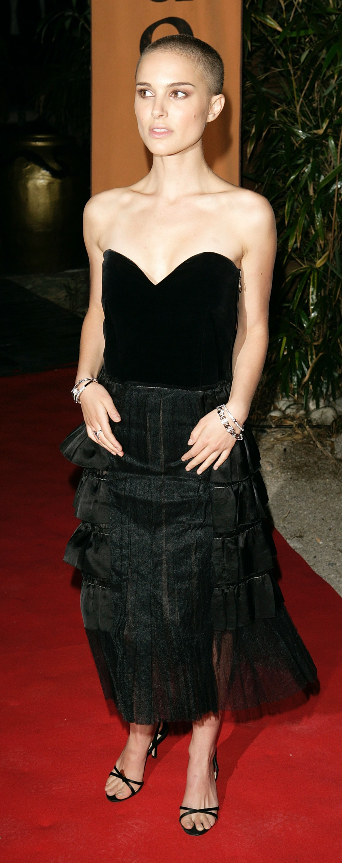 Natalie Portman with shaved head.