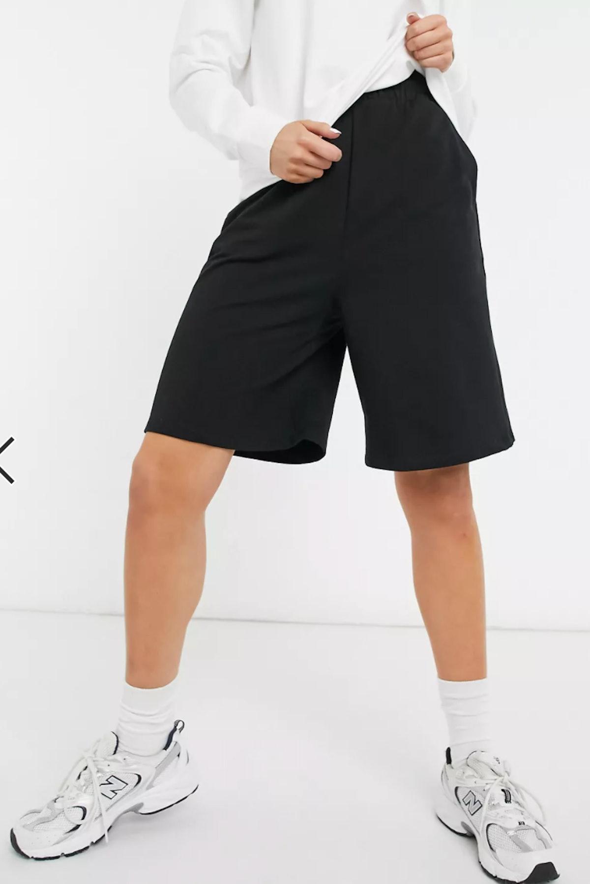 ASOS DESIGN Longer Length Sweat Shorts In Black