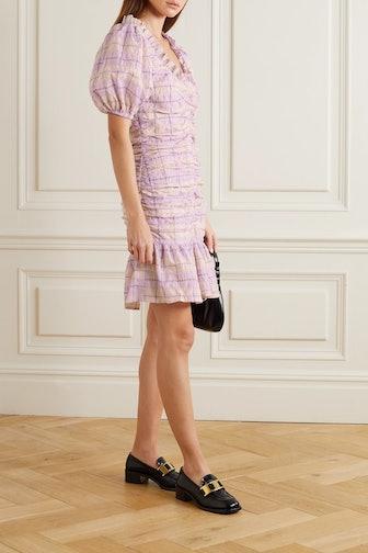 Ruched Seersucker Dress