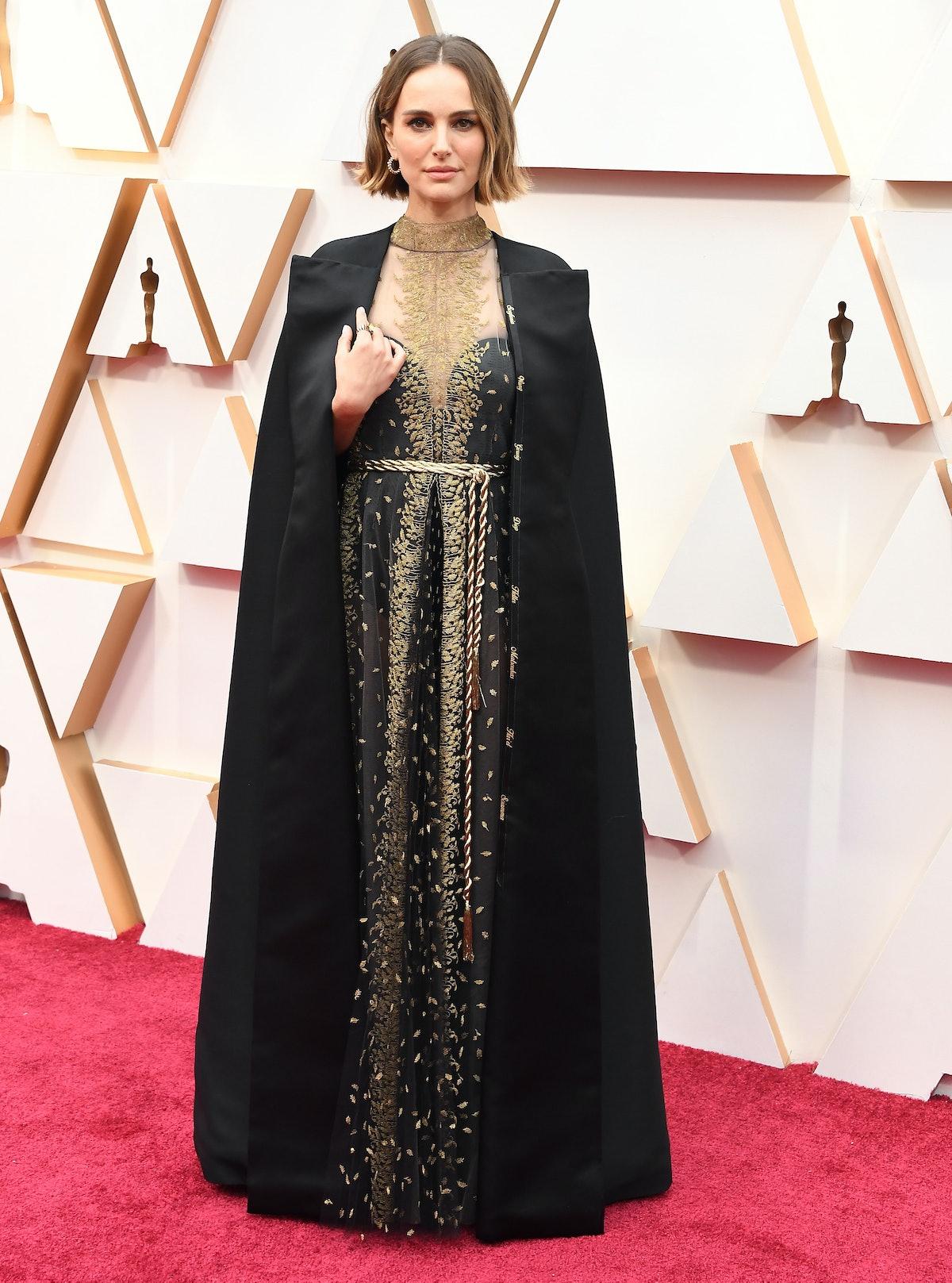 Natalie Portman in black and gold.