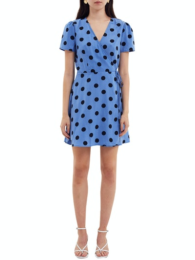 Short Sleeve Printed Wrap Mini Dress