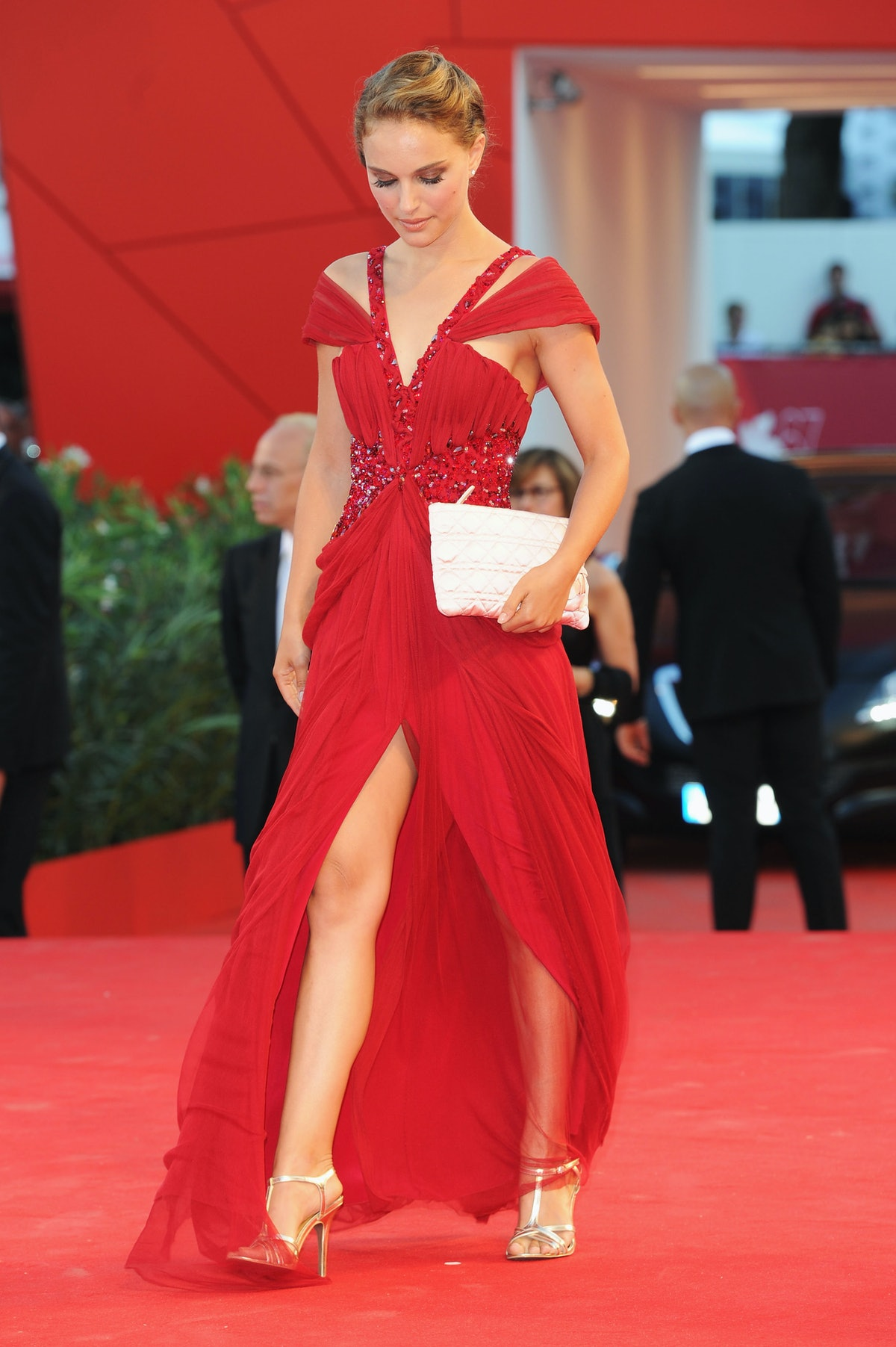 Natalie Protman in red gown.