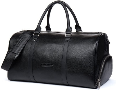 Bostanten Genuine Leather Weekender Bag