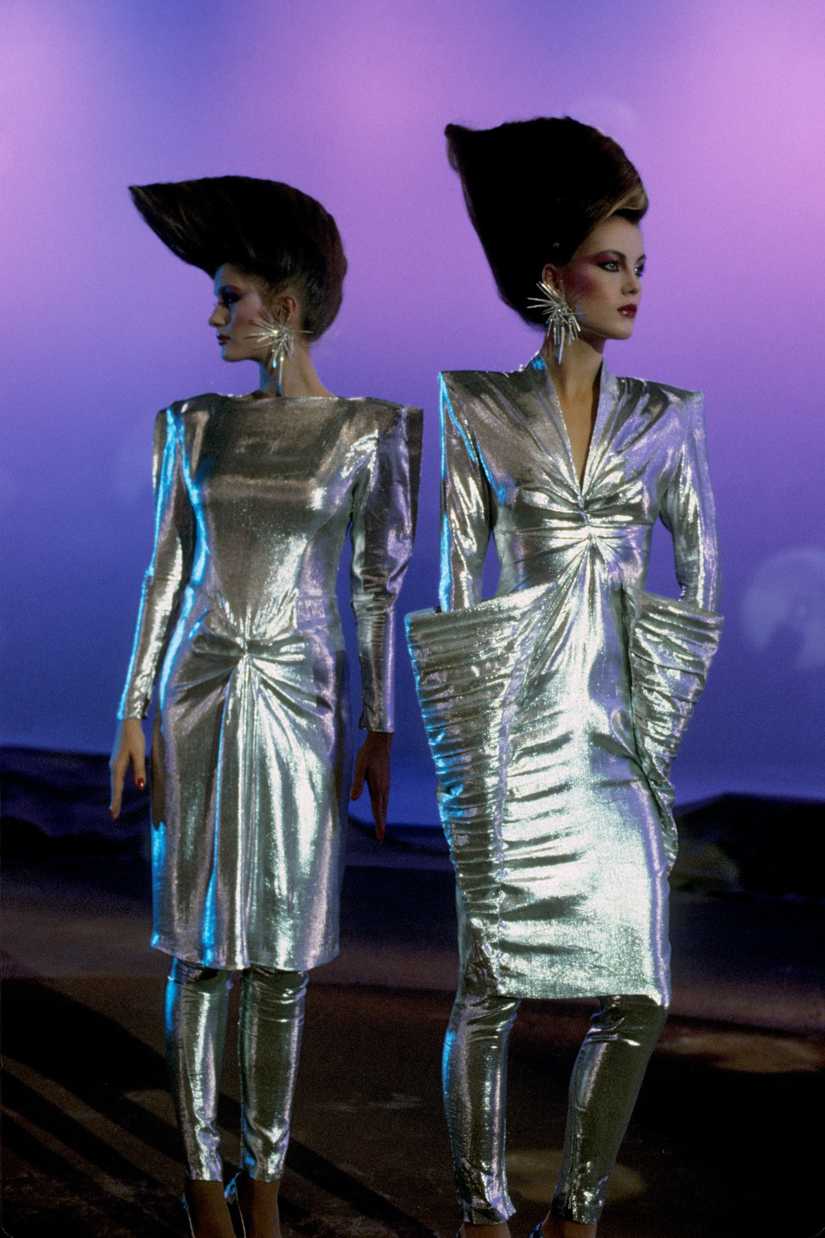 A model wearing a look from Thierry Mugler's Spirale futuriste collection