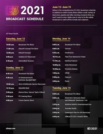 e3 2021 press conference schedule