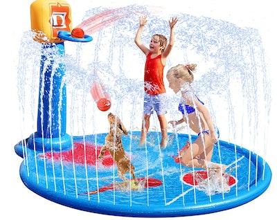 Vearmoad Sprinkler Mat With Basketball Hoop