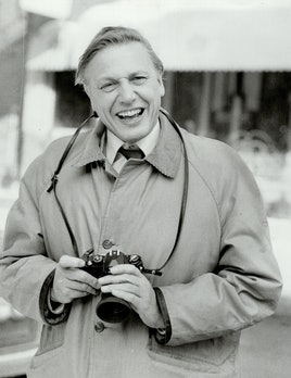 David Attenborough with a camera