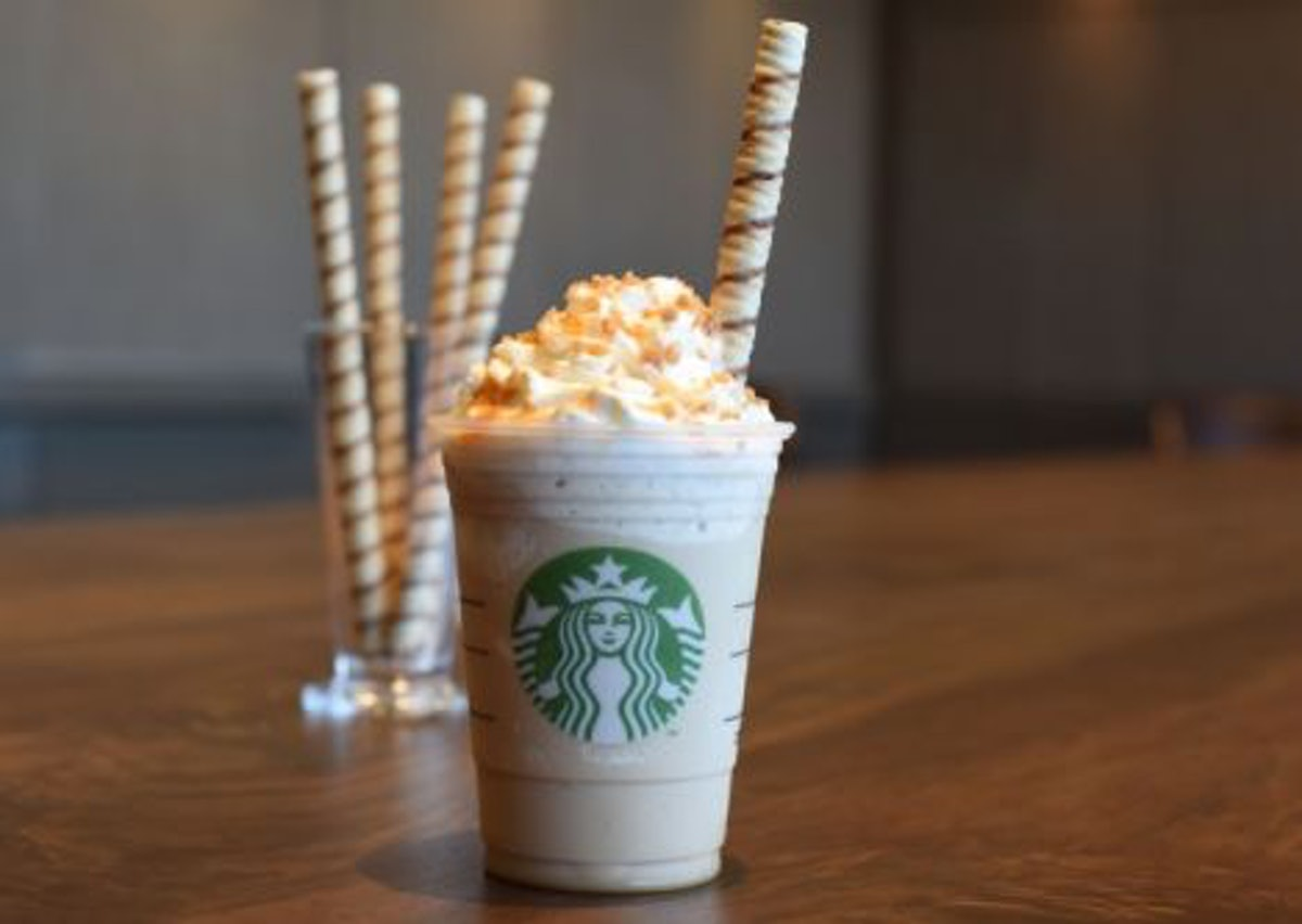 The strongest Starbucks Caramel drinks ranked by caffeine includes the Caramel Ribbon Crunch Frappuc...