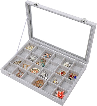 Stylifing Velvet Jewelry Organizer With Clear Lid