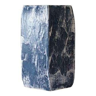 Paul Schneider Ceramic Hexagonal Stool in Drip Brushed Navy Glaze