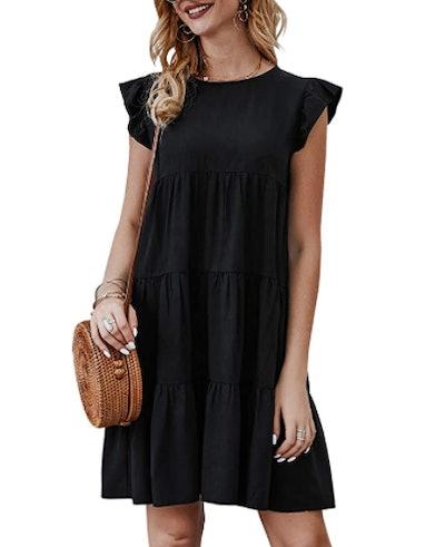 KIRUNDO Ruffle Sleeve Pleated Dress