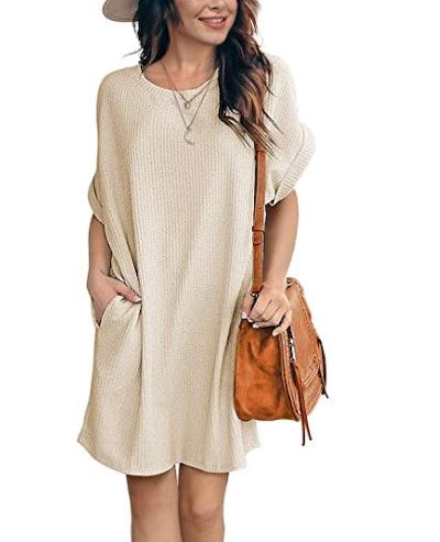 IWOLLENCE Waffle Knit Summer Dress