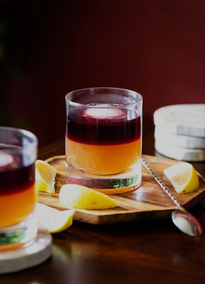 two tone whiskey sour cocktail