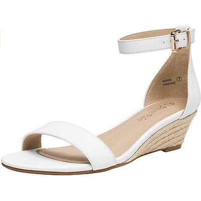 DREAM PAIRS Ingrid Ankle Strap Low Wedge Sandal