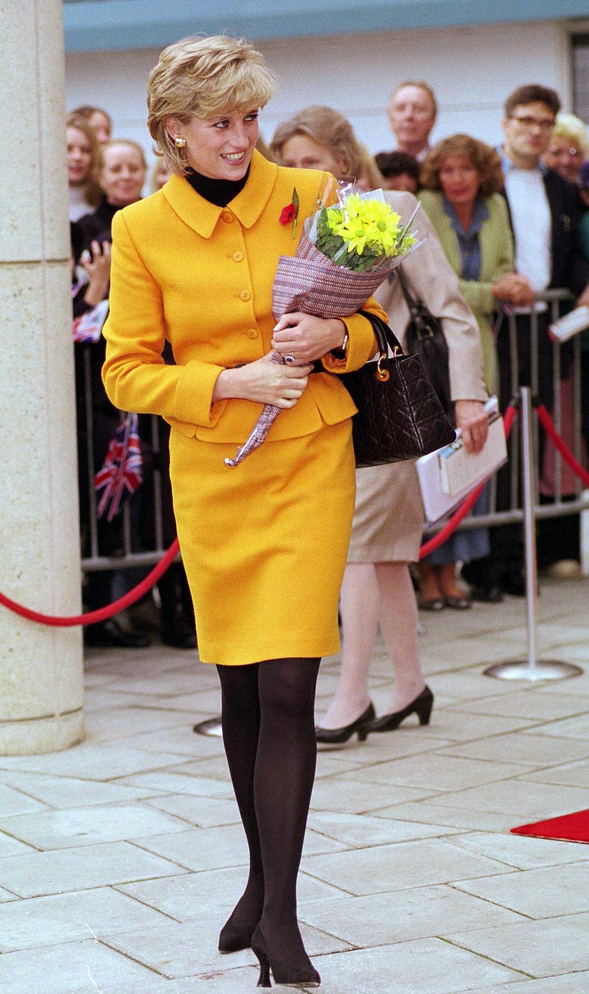 Princess Diana wearing orange Versace