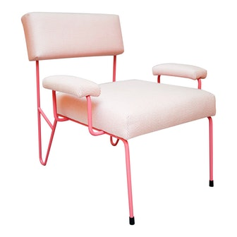 Alex Outdoor Lounge Side Club Chair, Pink Upholstered Sunbrella with Pink Stainless Steel Powder Coated Base