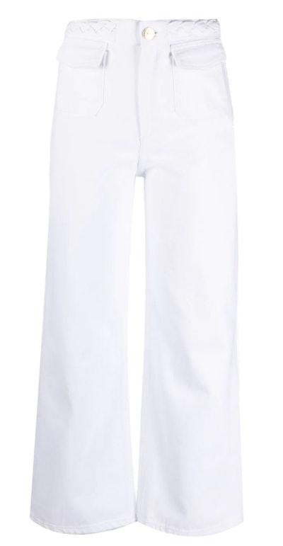 White-Wash Wide-Leg Jeans