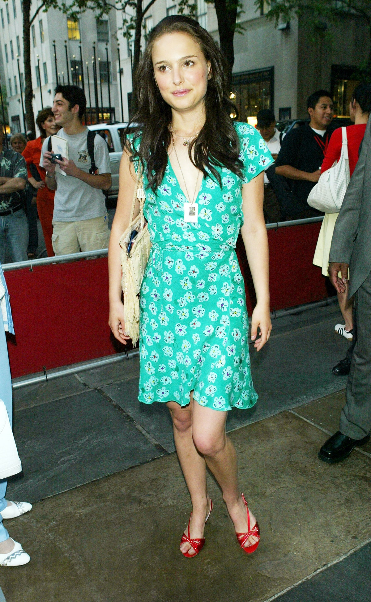 Young Natalie Portman in green dress.
