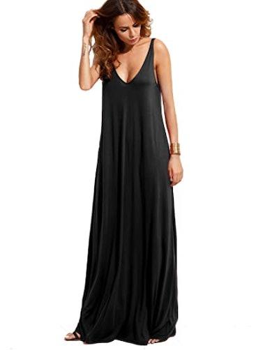 Verdusa Deep V-Neck Maxi Dress