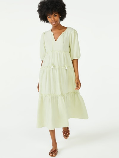 Peasant Dress with Puff Sleeves