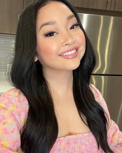 Lana Condor taking selfie smiling long hair