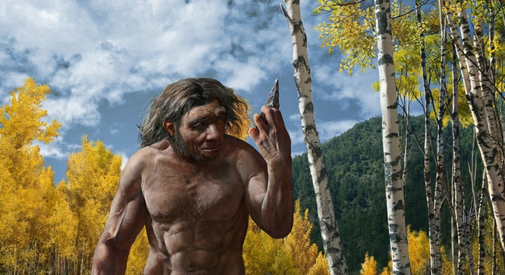 A painting of an early human walking across a creek with a stone tool in his hand