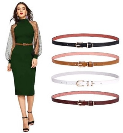 SANSTHS Skinny Leather Belt (4-Pack)