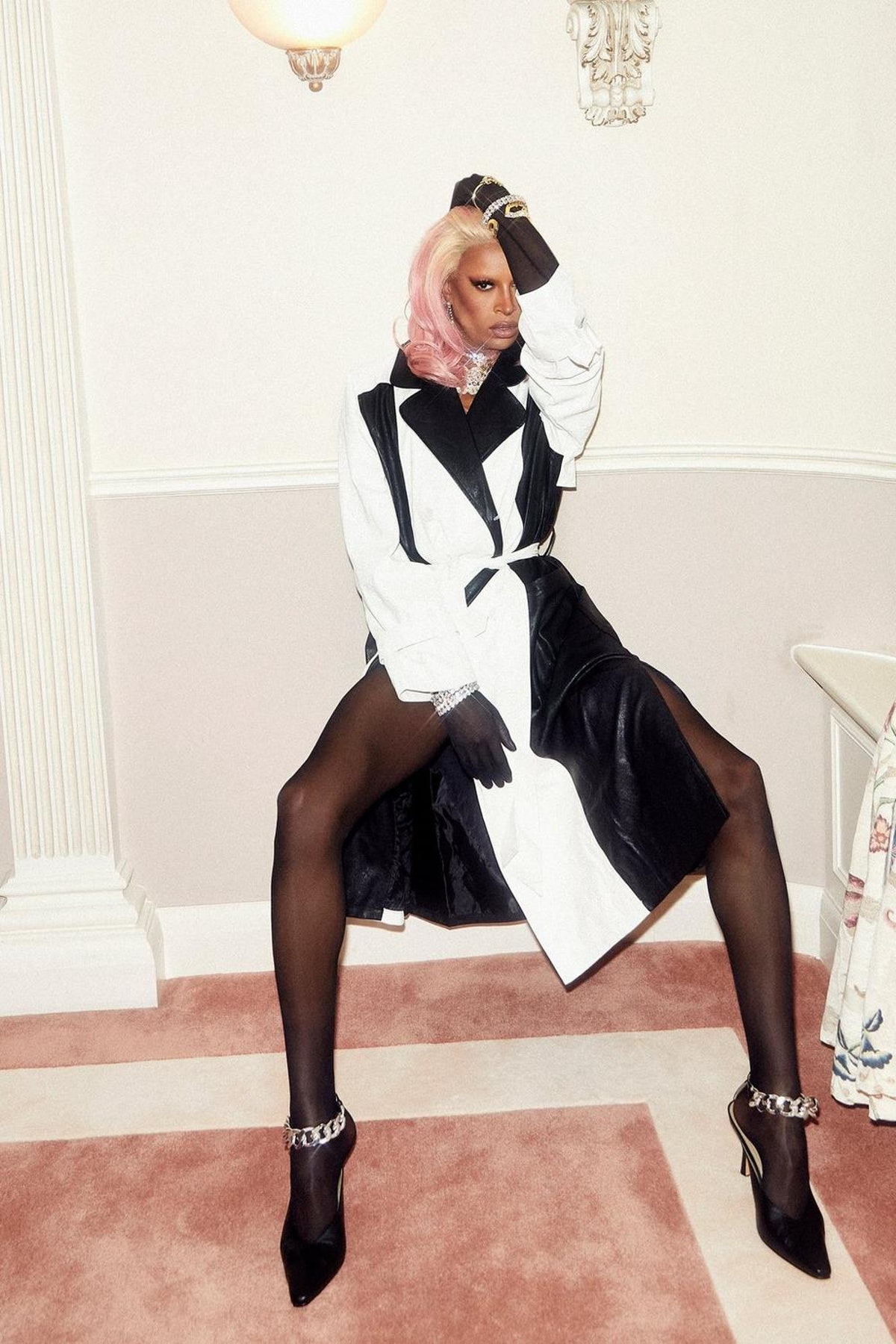 Nasty Gal x Tayce Two Tone Faux Leather Belted Trench Coat