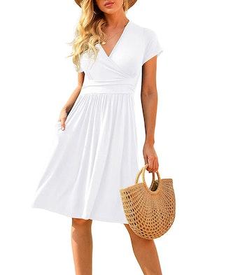 LILBETTER Summer Casual Short Sleeve V-Neck Dress with Pockets