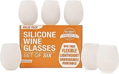 Brovino Silicone Wine Glasses (6-Pack)
