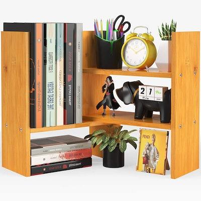 Pipishell Bamboo Desktop Bookshelf Organizer