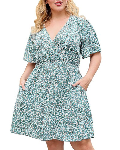 Nemidor Casual V-Neck Plus Size Dress with Pockets