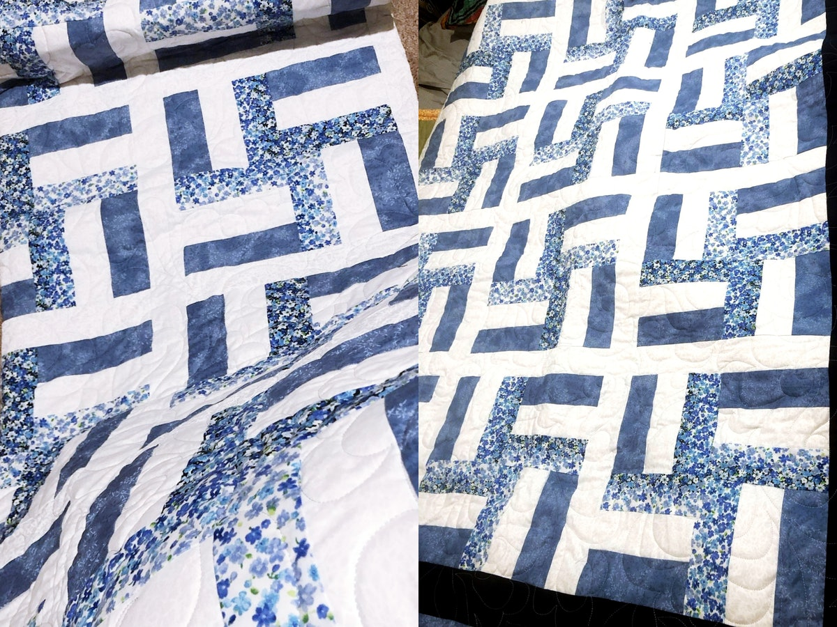 A diptych of a quilt in a blue and white pattern that kinda looks like swastikas.