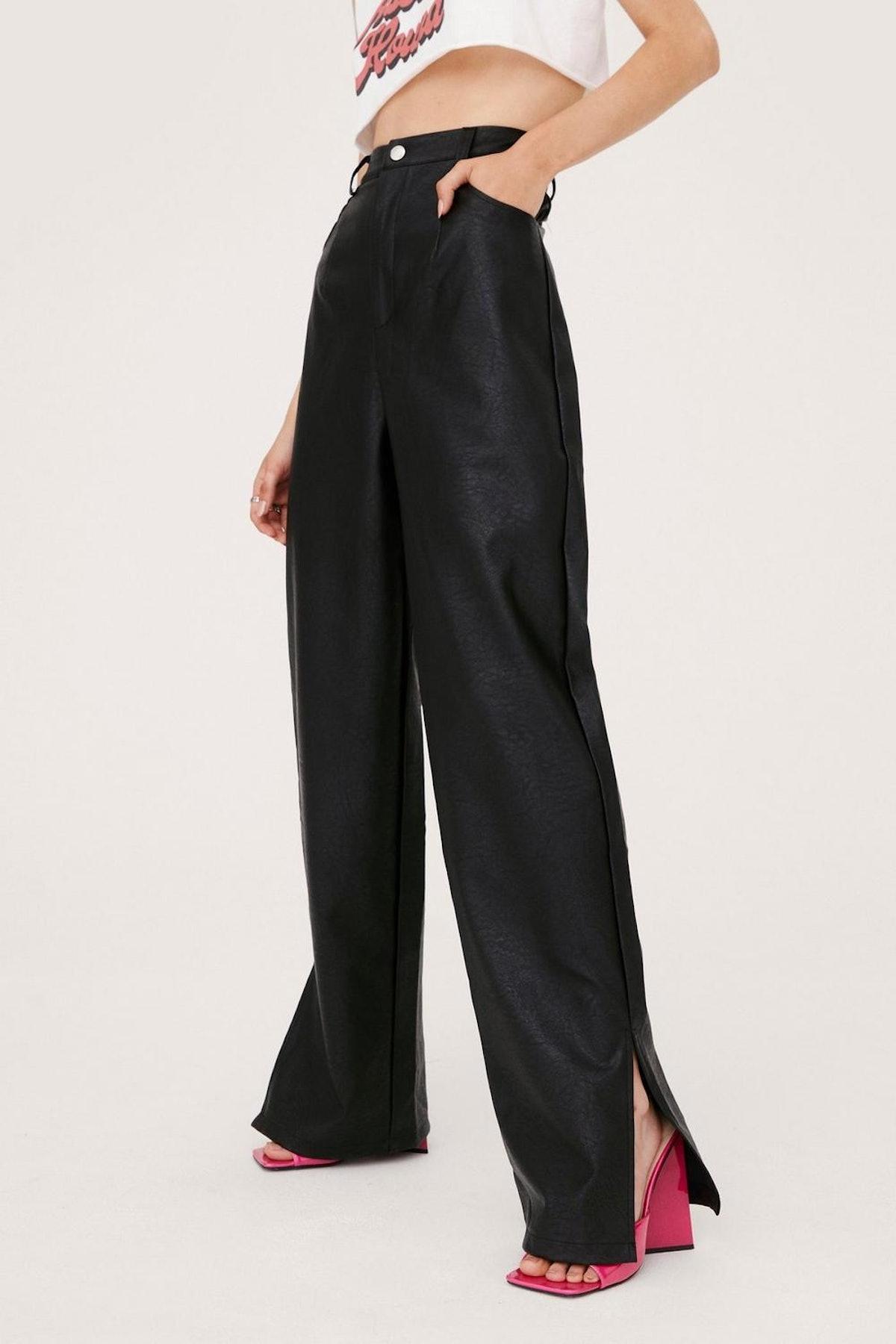Nasty Gal x Tayce Faux Leather Split Hem Wide Leg Pants