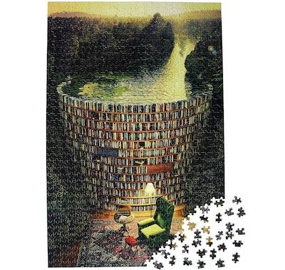Moruska Bookshelf Dam Wooden Jigsaw Puzzle