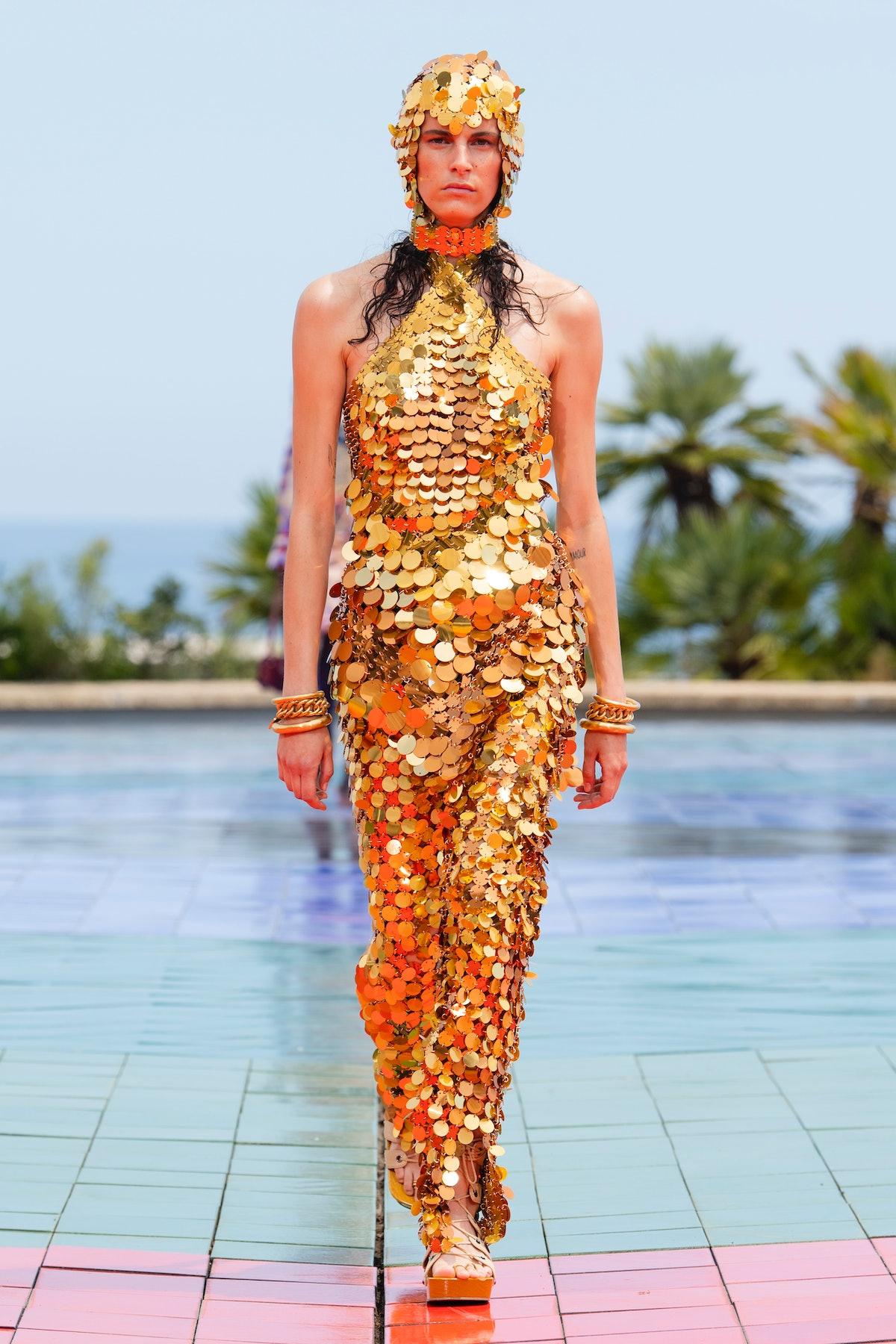 Model wears Paco Rabanne
