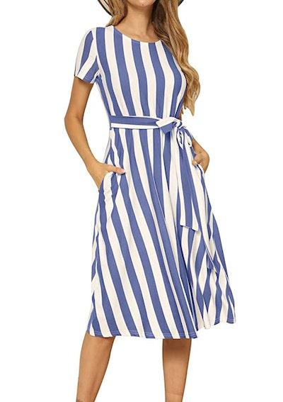 levaca Flowy Midi Belt Dress