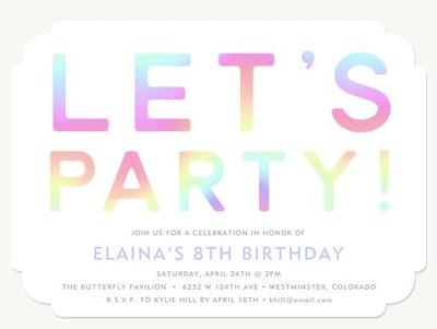 Let's Party Custom Paper Invite