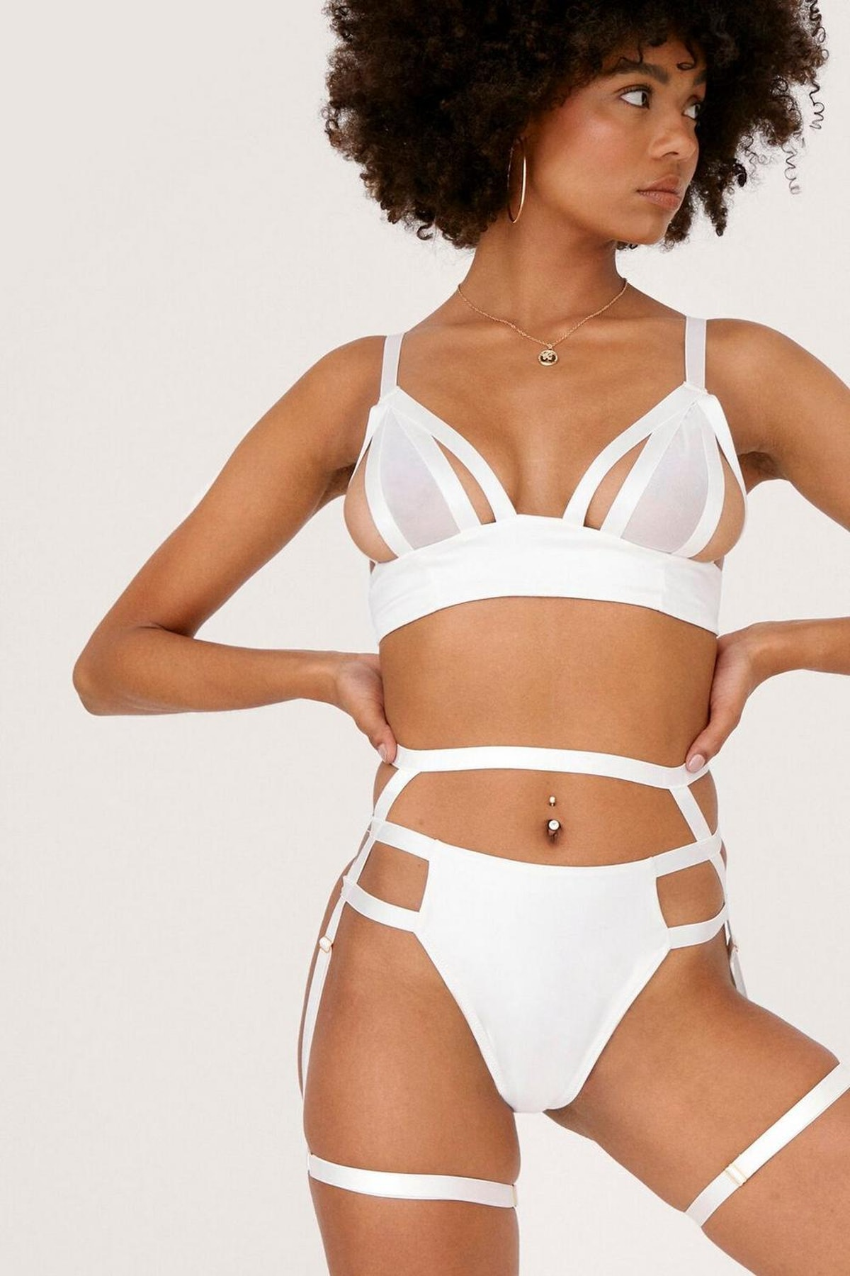 Nasty Gal x Tayce Strappy 3 Pc Bralette Thong and Harness Set