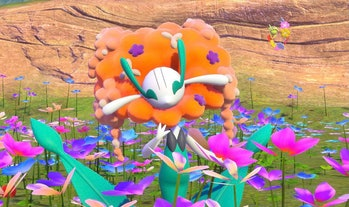 A Pokémon in a filed of flowers