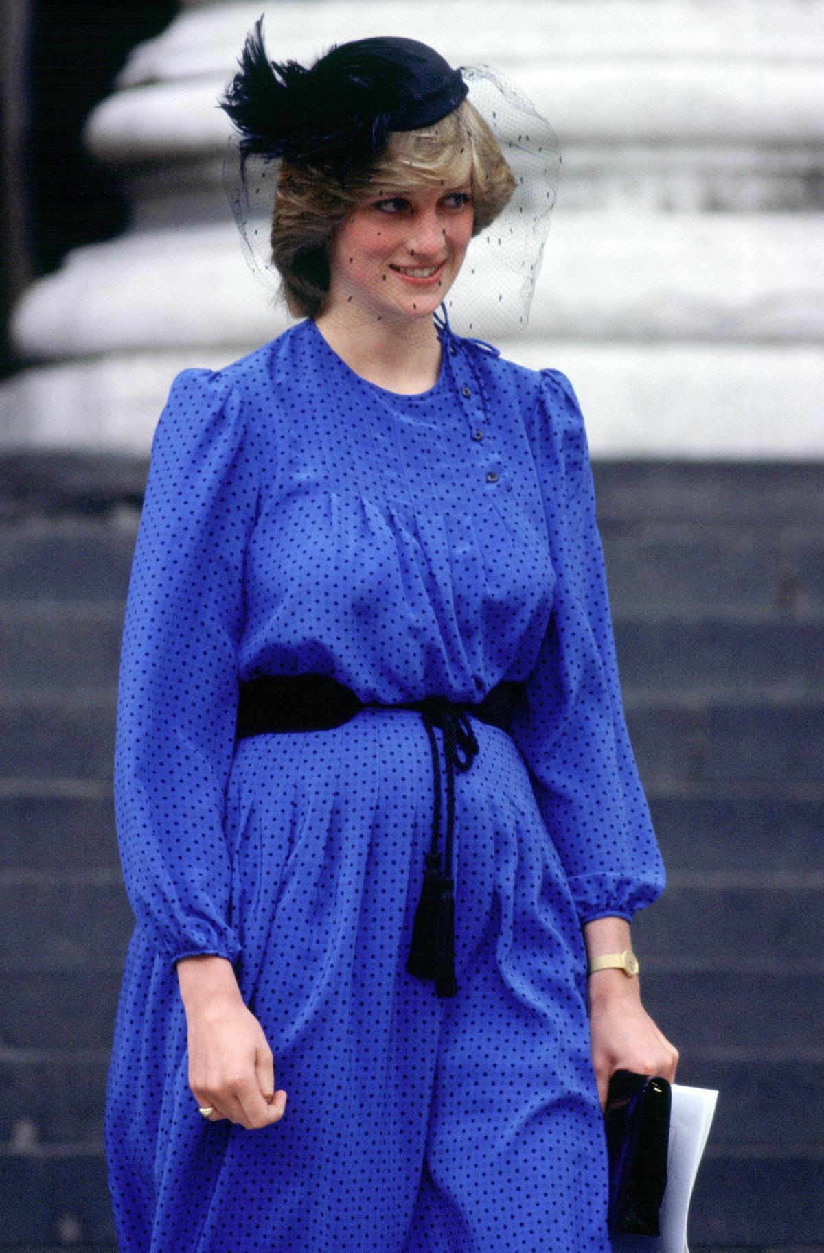 Princess Diana wearing lilac