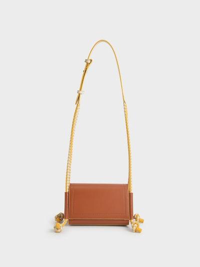 Embellished Strap Crossbody Bag in Cognac