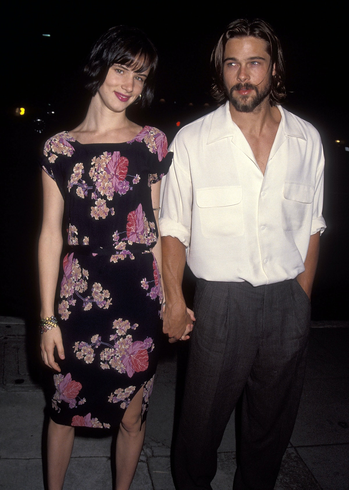 Juliette in a floral dress, Brad with long hair and beard