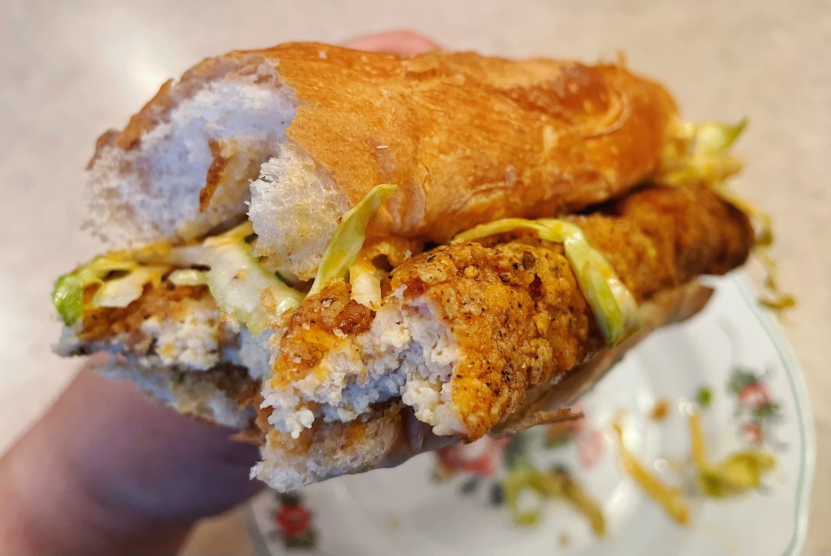 A breaded and fried tofu sandwich.