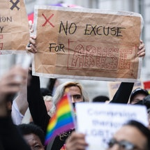 2021 demonstration against the use of Conversion Therapy outside UK Cabinet office