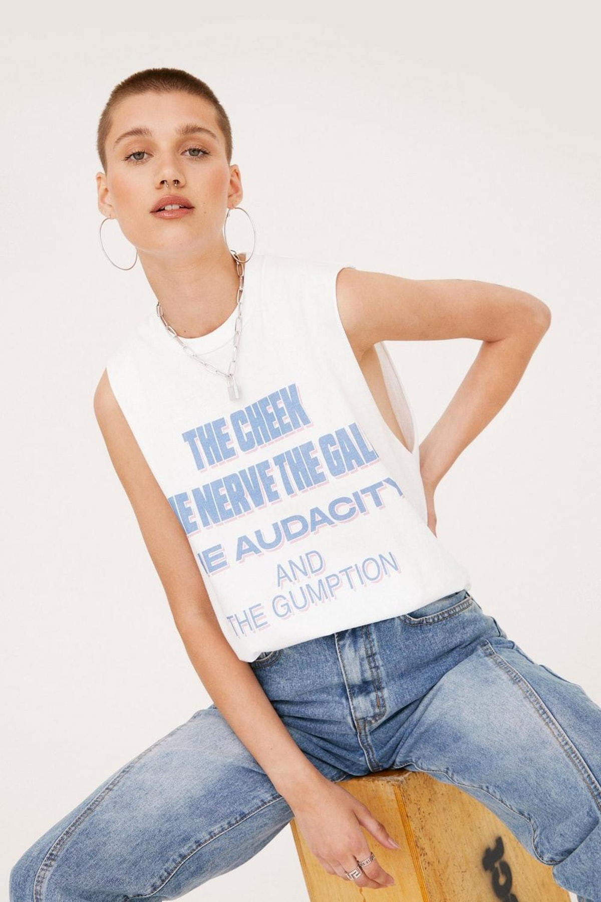 Nasty Gal x Tayce The Cheek Dropped Armhole Graphic Tank Top
