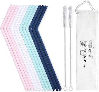 Reusable Silicone Straws with Case (12 Pieces)